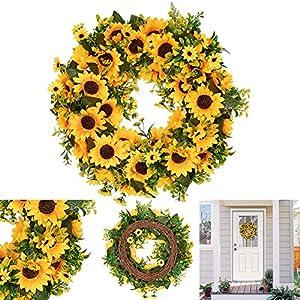 Artificial Sunflower Summer Wreath,Decorative Fake Flower Wreath Wildflowers Decoration for Front Door Indoor or Outdoor Wall Wedding Home Decoration 101