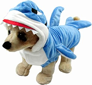 WORDERFUL Halloween Dog Shark Coat Pet Winter Costume Holiday Coat Hoodie for Small Dogs and Cats