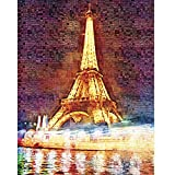 CHengQiSM Glow In Dark The Eiffel Tower Wooden Jigsaw Puzzles Glow in the Dark (1000 Pieces) for Kids Adult Man Women Teens Reduced Pressure Toy Gift - Learning and Education Toys