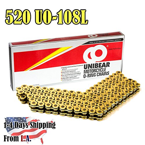 Unibear® O-Ring 520 108 Links Motorcycle Chain, GOLD, With 1 Connecting Link, Japan Technology (Chain Roller O-ring)