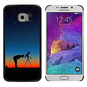 QCASE / Samsung Galaxy S6 EDGE SM-G925 / cielo telescopio noche protagoniza Perfil del hombre puesta de sol / Delgado Negro Plástico caso cubierta Shell Armor Funda Case Cover