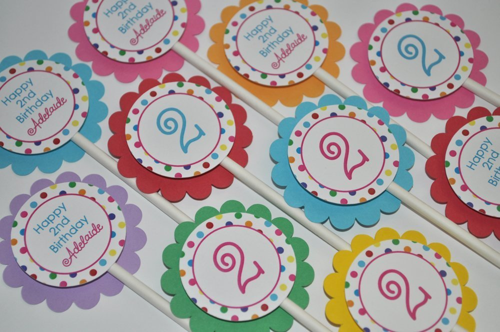 Birthday Cupcake Toppers - Colorful Polkadots - Set of 12
