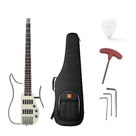 ammoon ALP RG-100 Plegable Guitarra eléctrica baja Headless Travel Diapasón de palisandro de mástil