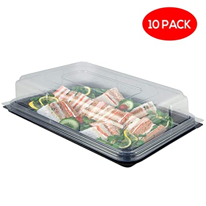 10 Grande Rectangular Plato Base con Tapa - Bandeja para Servir con Cubierta para Alimentos,