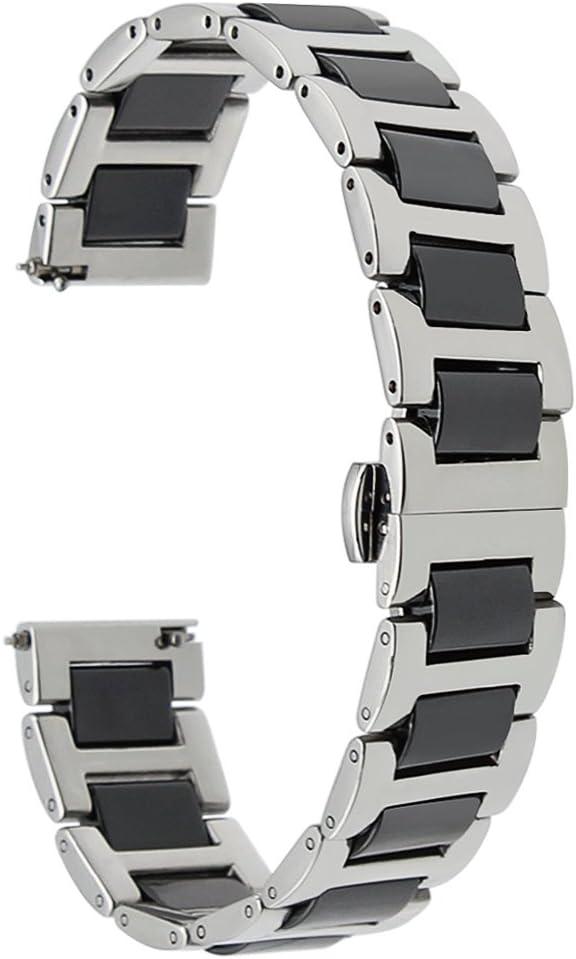 TRUMiRR 22mm Ceramic Watch Band Correa de liberación rápida Todos los enlaces Desmontable para Samsung Gear S3 Classic Frontier, Gear 2 Neo Live, Moto 360 2 46mm, Asus ZenWatch 1 2 Hombres, Pebble Tim