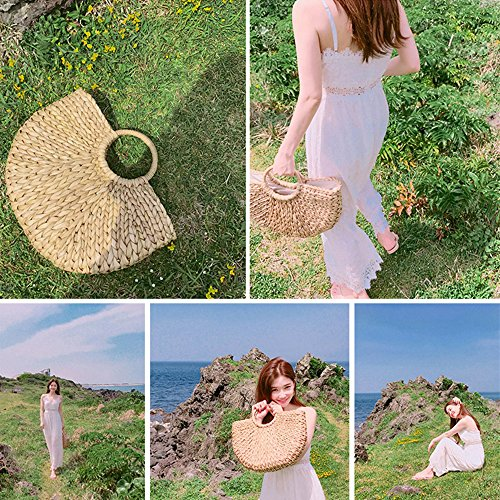 Bolso Playa Paja Hierba para Verano Mimbre Luna de de Bolso de Trenzado Mano de de Oceanheart Mujer Forma Artesanal nqOxaHw