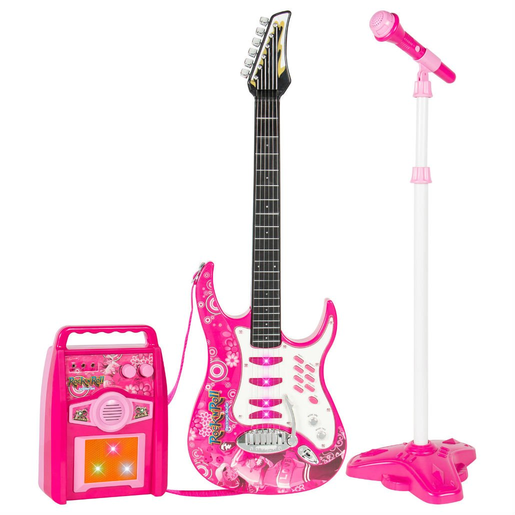 Unbranded Products Kids Electric Guitar Set MP3 Player, Microphone, Amp - Pink by Unbranded