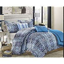 Chic Home Lynwood 6-Piece Luxury Reversible Comforter Set with Shams and Decorative Pillows, King Size, Printed