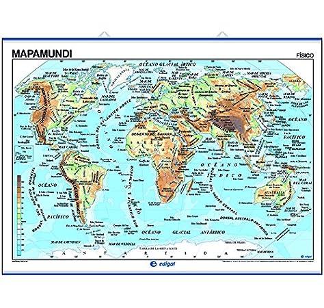 Mapamundi, físico / político: Mapas Murales (): Amazon.es: Edigol Ediciones: Libros