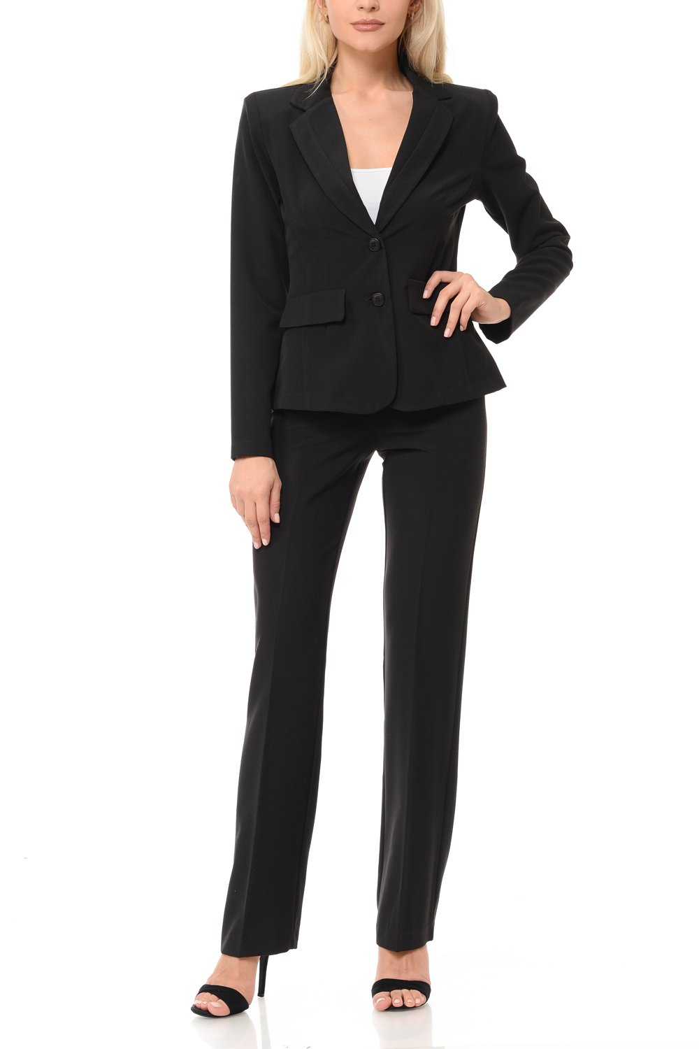 Woman Classic Wear to Office Work Pants Set(3094) (Large, Black)