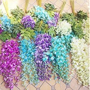 12pcs Wisteria Vine 105cm Artificial Wisteria Flower Vines for Wedding Party Decorative Flower Rattans 1