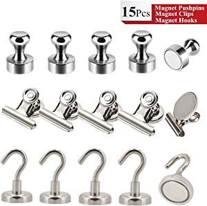 Refrigerator Magnets Kits - Aovon 15 Pack Durable Steel Neodymium Magnetic Push Pins/Magnetic Clips/Magnetic Hooks with Rust-Resistant Nickel Coating for Home and Office Use (5Pcs of Each Types)