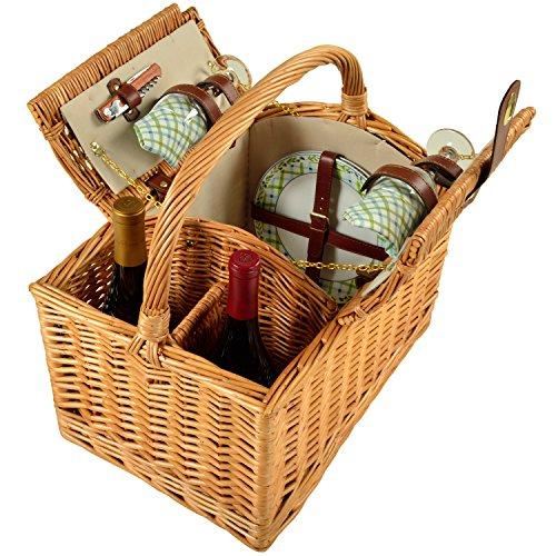 Picnic at Ascot Vineyard Willow Picnic Basket with service for 2 - Gazebo by Picnic at Ascot