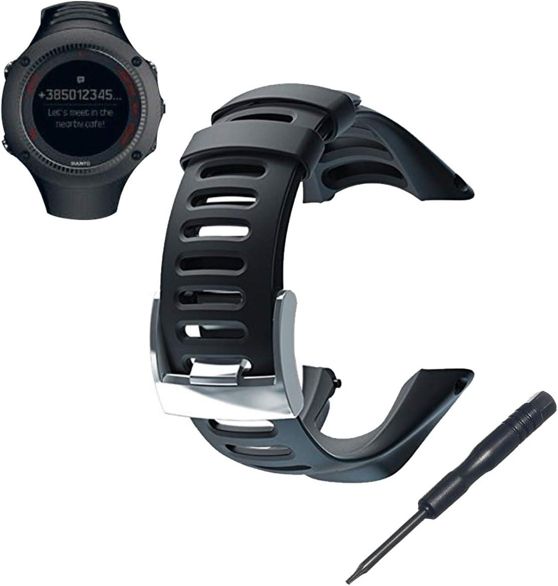 Reloj banda correa, phifo suave negro de goma de repuesto reloj banda correa con herramienta gratuita para Suunto Ambit 3 Pico/Ambit 2/1