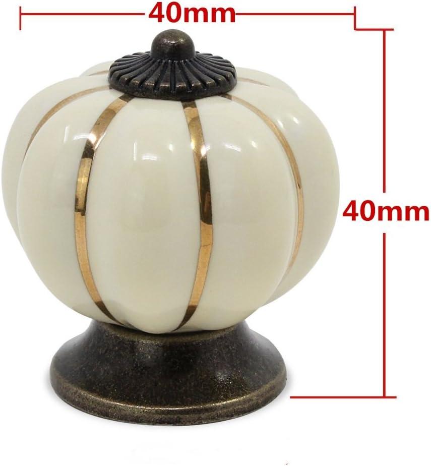 8/pcs ronde en c/éramique Boutons citrouille vintage Tirette de poign/ée de porte avec vis pour armoire tiroir Porte Placard Armoire Casier Armoire blanc