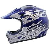 TMS Youth Kids Blue Flame Dirt Bike Motocross Helmet Atv Mx (Medium)