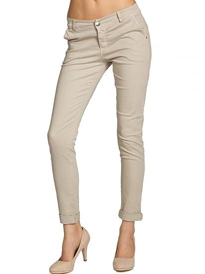 Caspar KHS037 Pantalon Skinny fit Chino en Coton pour Femme, Couleur Beige  Taille 1956dd033453