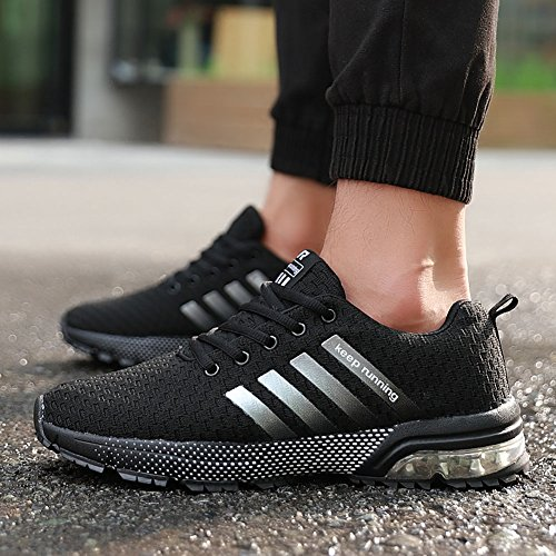 Fitness Homme Sports wealsex Baskets Amorti Running 39 Noir Course Air Athlétique Chaussures 46 Chaussures Gym Sneakers T7xxw5Iq