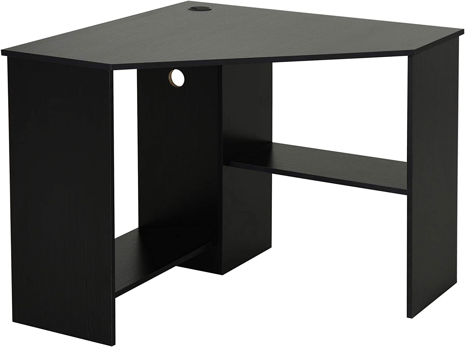 HOMCOM Multi-Tier Corner Computer Desk Writing Table for Home & Office with Multiple Shelf Build & Sturdy Design, Black