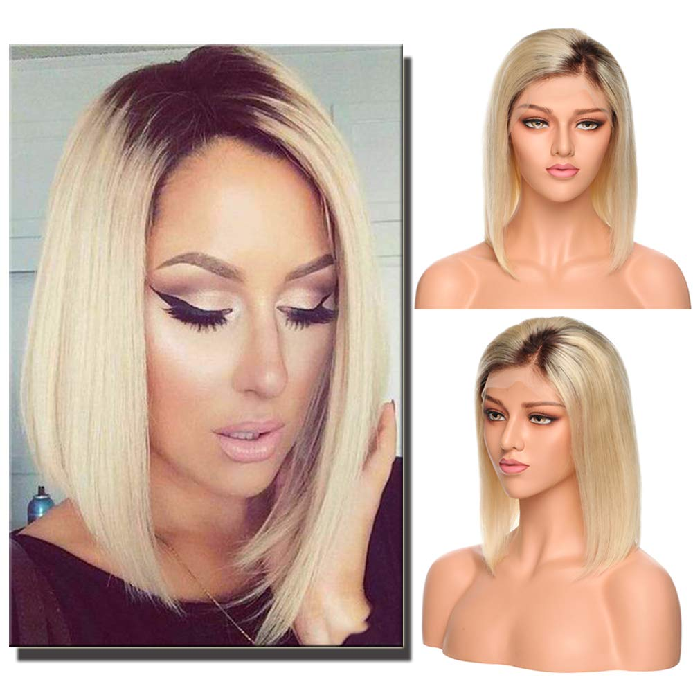 Amazon.com   Ombre Lace Front Wig BOB Style Remy Human Hair Short Medium  Brown to Bleach Blonde Side Parting with Baby Hair Silky Straight for Black  Women ... eba1e49a4
