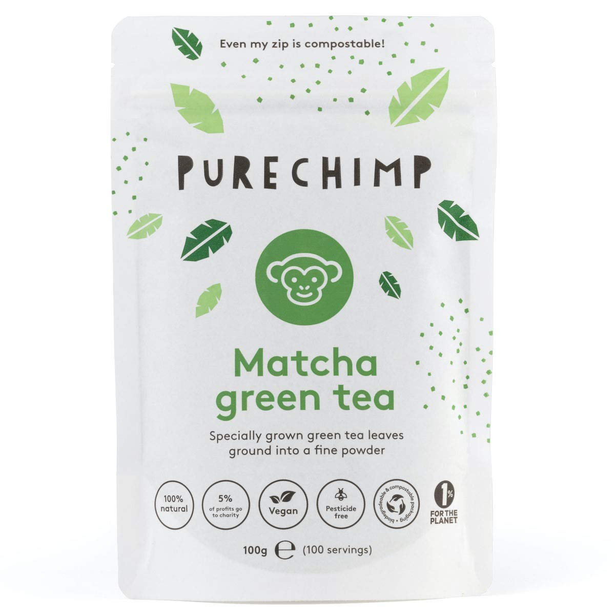 Matcha Tea Powder 100g by PureChimp - Ceremonial Grade from Japan - Pesticide-Free