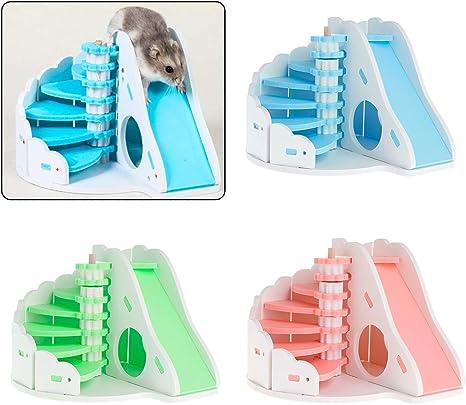 WEISHAZI - Escalera en espiral para mascotas, juguetes para esconder el medio ambiente, redondos, divertidos, para hámster, ardilla, chinchilla y cobaya, juguete para mascotas pequeñas rosa rosa: Amazon.es: Bebé