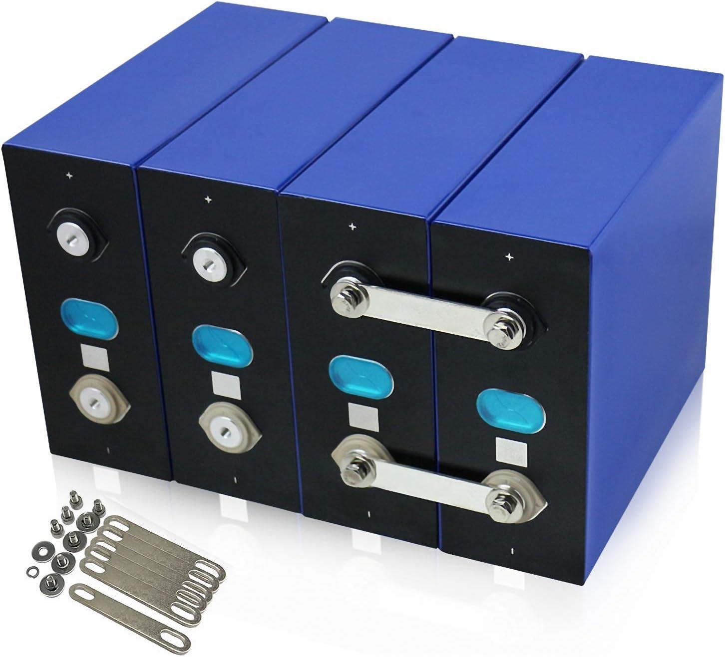 LeiQuanQuan Batería LiFePO4 3.2V LIFEPO4 BATERÍA DIY 12V 24V 48V 280AH Paquete de batería Recargable para Celdas de vehículos eléctricos RV Almacenamiento Solar BMS Tax Free 4pcs