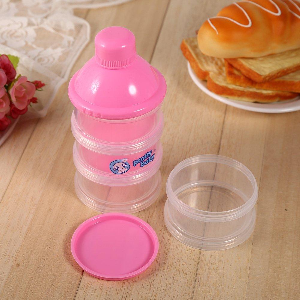 Zerodis Milchpulver Portionierer Baby Beh/älter Spender 4 Schichten Tragbar Lebensmittel Obst Aufbewahrungsbox Indoor Outdoor Rosa