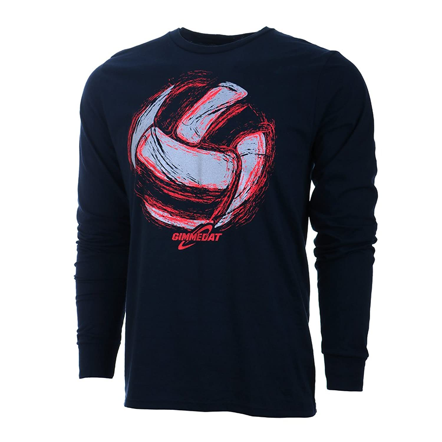 GIMMEDAT Volleyball Space Ball Long Sleeve Volleyball T-Shirt Navy Blue