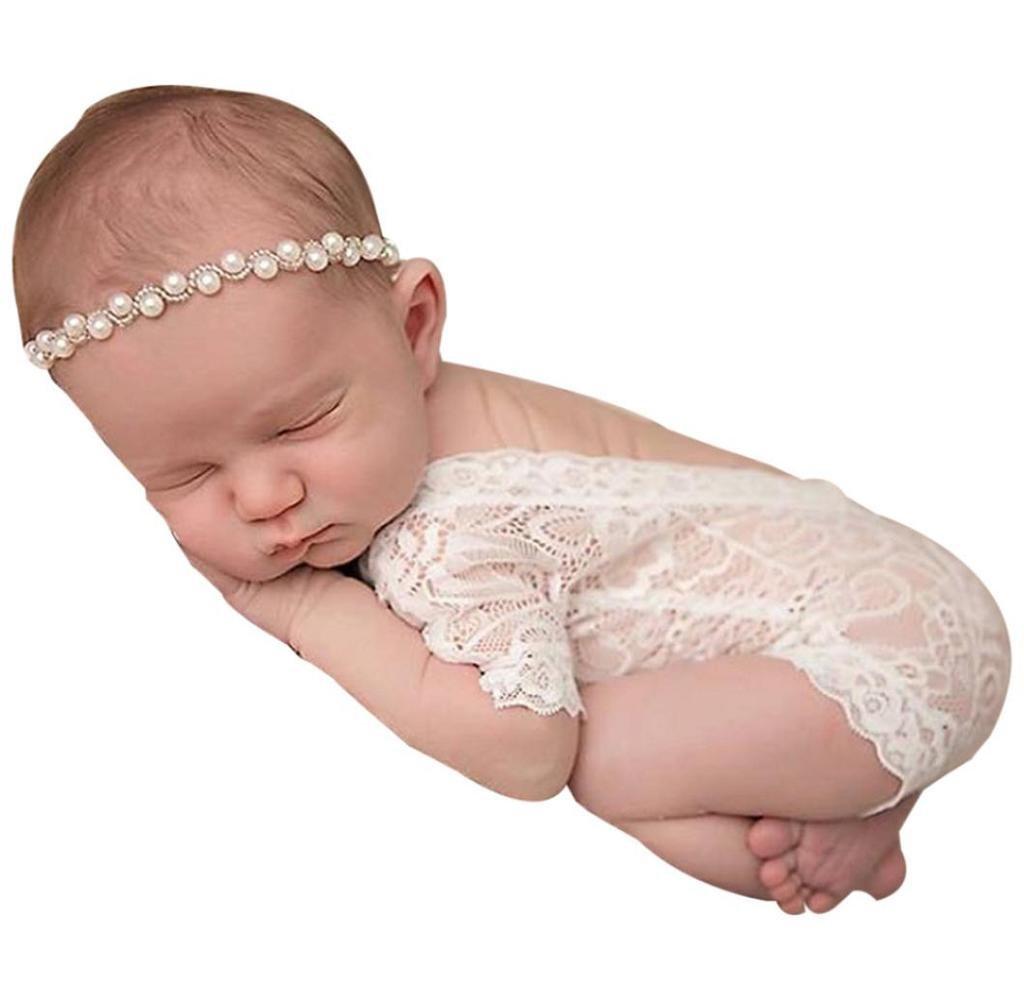 Singleluci Newborn Baby Girl Photography Prop Lace Romper Jumpsuit Princess Onesie Singleluci-179