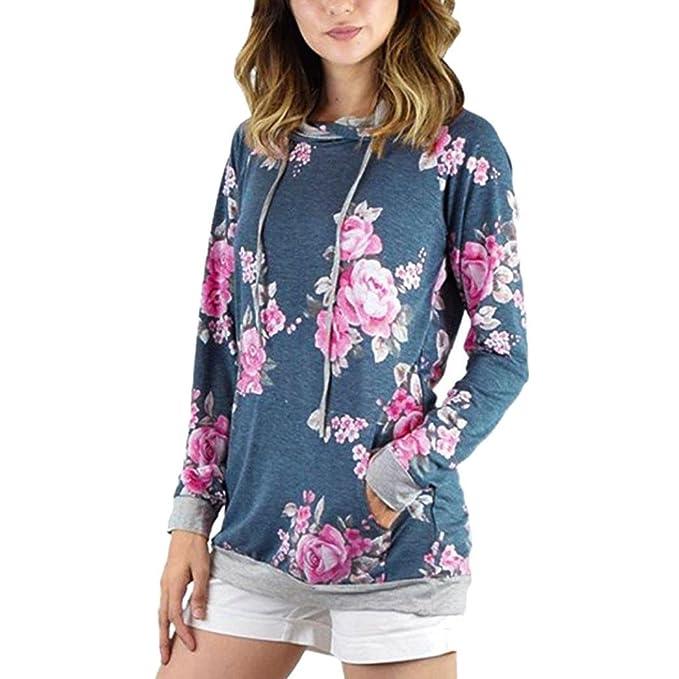 Vovotrade Mujer chino Impresión floral Encapuchado Sudaderas Suelto Pullover Blusa Deporte Casual Camiseta Color Azul Noche