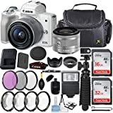 Canon EOS M50 24.1MP Mirrorless Digital Camera (White) + EF-M 15-45mm f/3.5-6.3 IS STM Lens (Silver) + 48GB Memory + Filters & Macros + Spider Tripod + Slave Flash + Professional Accessory Kit