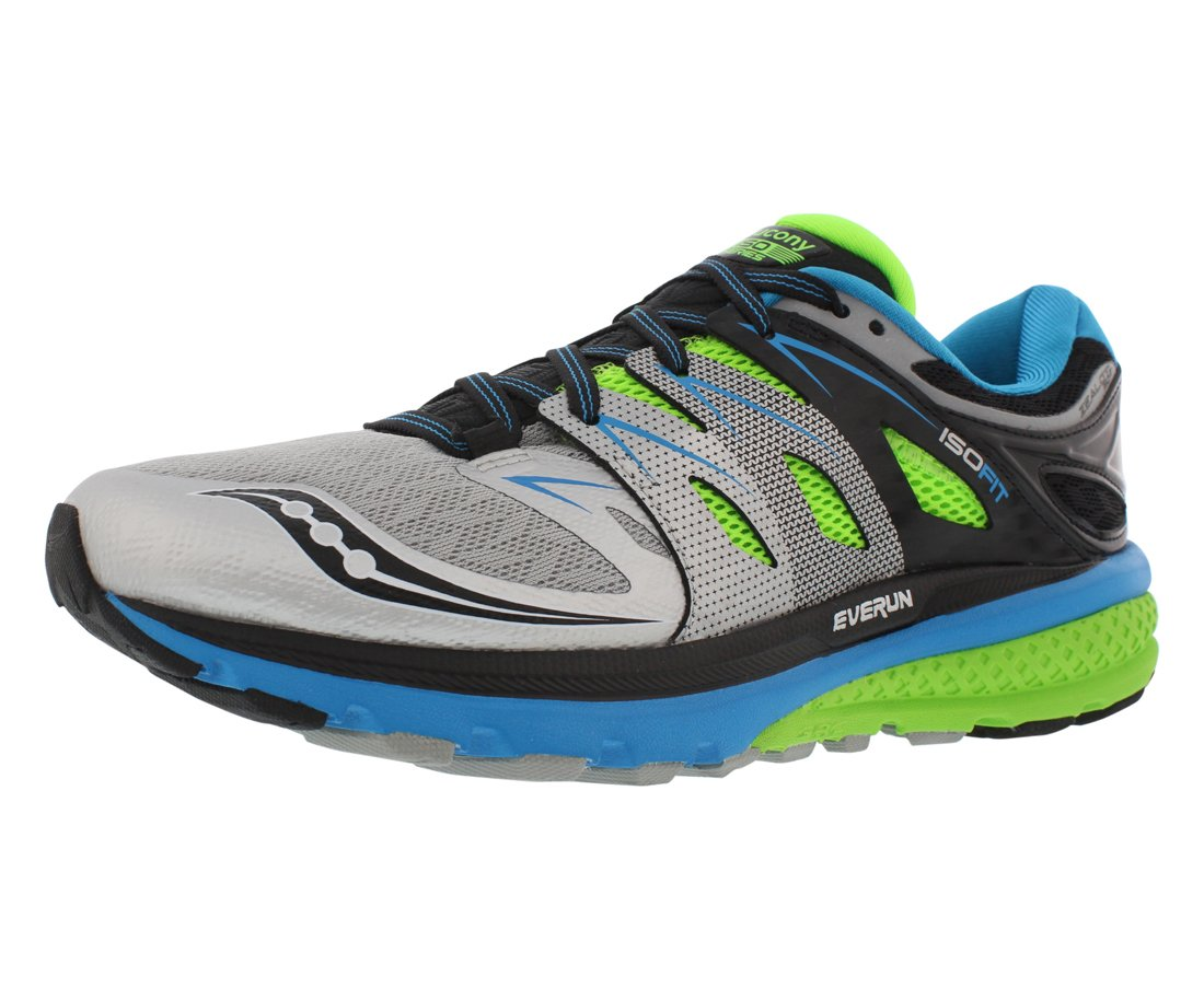 Saucony Men's Zealot Iso 2 Running Shoe, Blue/Slime/Silver, 12 M US