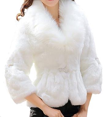 Helan Mujeres Faux Rex Abrigo con cuello de piel de zorro de imitacion de piel de conejo White EU 36: Amazon.es: Ropa y accesorios