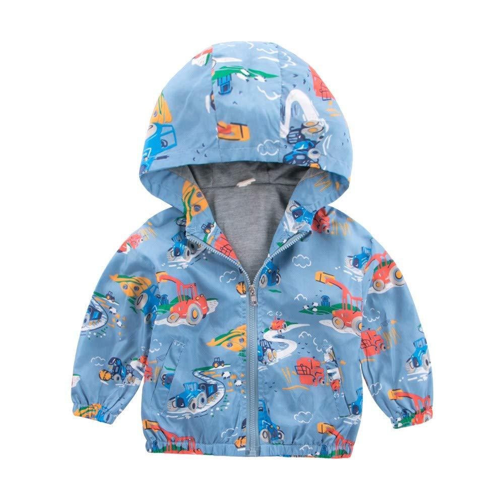 Kids Jackets, Girl Boys Excavator Hoodie Windbreaker Coat Toddler Autumn Zipper Jacket for 0-5 Years Old Kids Outerwear JUH-852