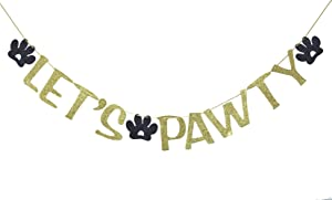 Let's Pawty Banner Sign Garland for Pet Birthday Party Decor Dog Pawty Photo Prop Backdrop (Gold)