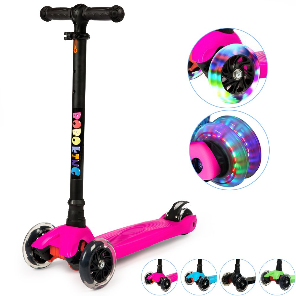 Adjustable Height Scooter with LED Light Up 4 Wheels, BOBOKING Deluxe Kick Scooter for Kids by BOBOKING