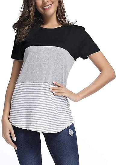 STRIR Camisas Mujer Manga corta Rayas Bloque de Color Casual Flojas Blusas Tops del Camisetas: Amazon.es: Ropa y accesorios