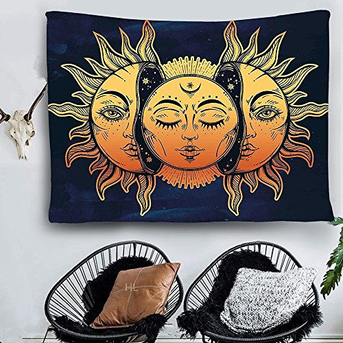 HL Wall Tapestry, Moon and Sun Face Pattern Fabric Wall Tapestry Hanging for Bedroom Living Room Dorm Handicrafts Beach Cover Up Curtain Polyester Wall Decor(60 x 80 Inch, Moon and Sun) by Hongxiu Lighting Direct (Image #1)