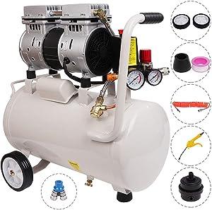 Homegreg 56 decibels ultra Silent 110V 6.3 gallon 0.8 HP Oil Free light weight Air Compressor with blow gun kit
