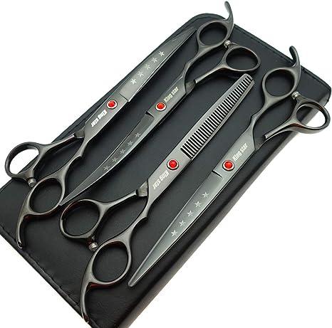 Amazon Com 7 0in Titanium Black Professional Pet Grooming Scissors Set Straight Thinning Curved Scissors 4pcs Set For Dog Grooming Black