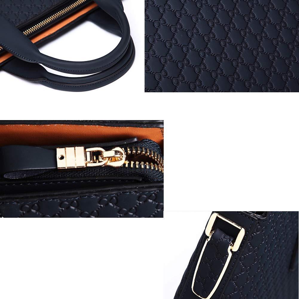 DCRYWRX Computer Bag Embossed Briefcase Leather Bag Mens Handbag Cross Section Business Shoulder Messenger Bag