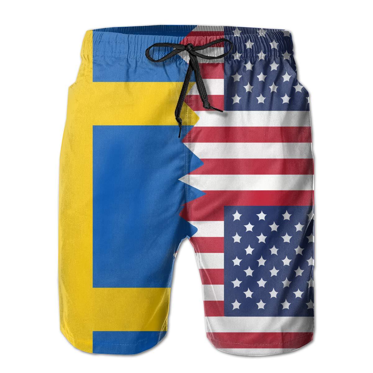 STDKNSK9 Mens Swedish USA Flag Board Shorts Beach Shorts