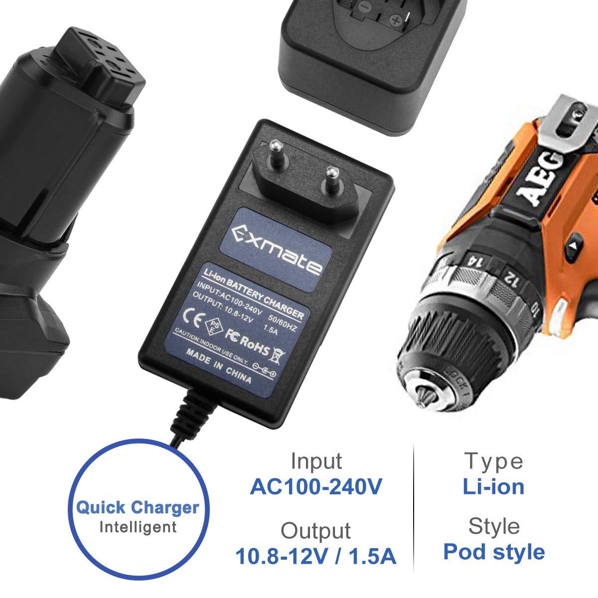No para bater/ía Ni-MH//Ni-Cd Exmate 12V Cargador Compatible con AEG L1215 12V Bater/ía de Litio