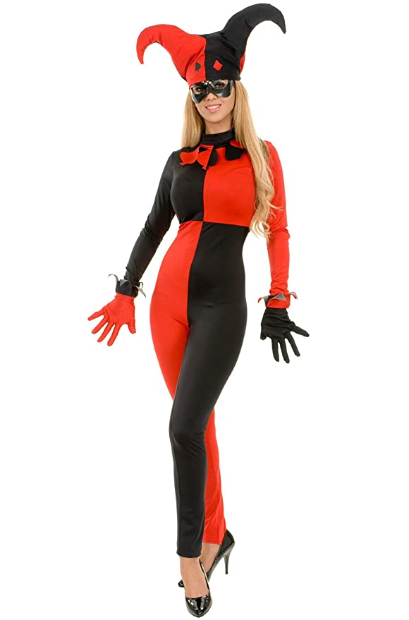 Amazon.com Charades Womens Sexy Red u0026 Black Harley Quinn Style Costume Clothing  sc 1 st  Amazon.com & Amazon.com: Charades Womens Sexy Red u0026 Black Harley Quinn Style ...