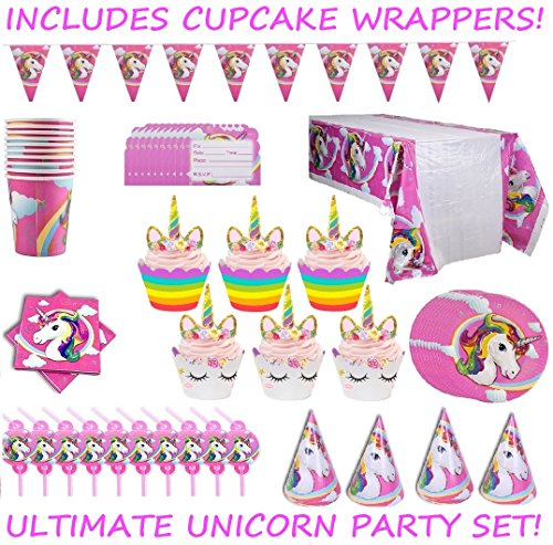 Complete Unicorn Birthday Party Supplies Set For 10 Kids | Pack Includes Cupcake Wrappers, Plates, Cups, Napkins, Hats, Straws, Invitation Cards and Table Cloth | All Accessories You Need For A Party (Cups Invites Plates Napkins)