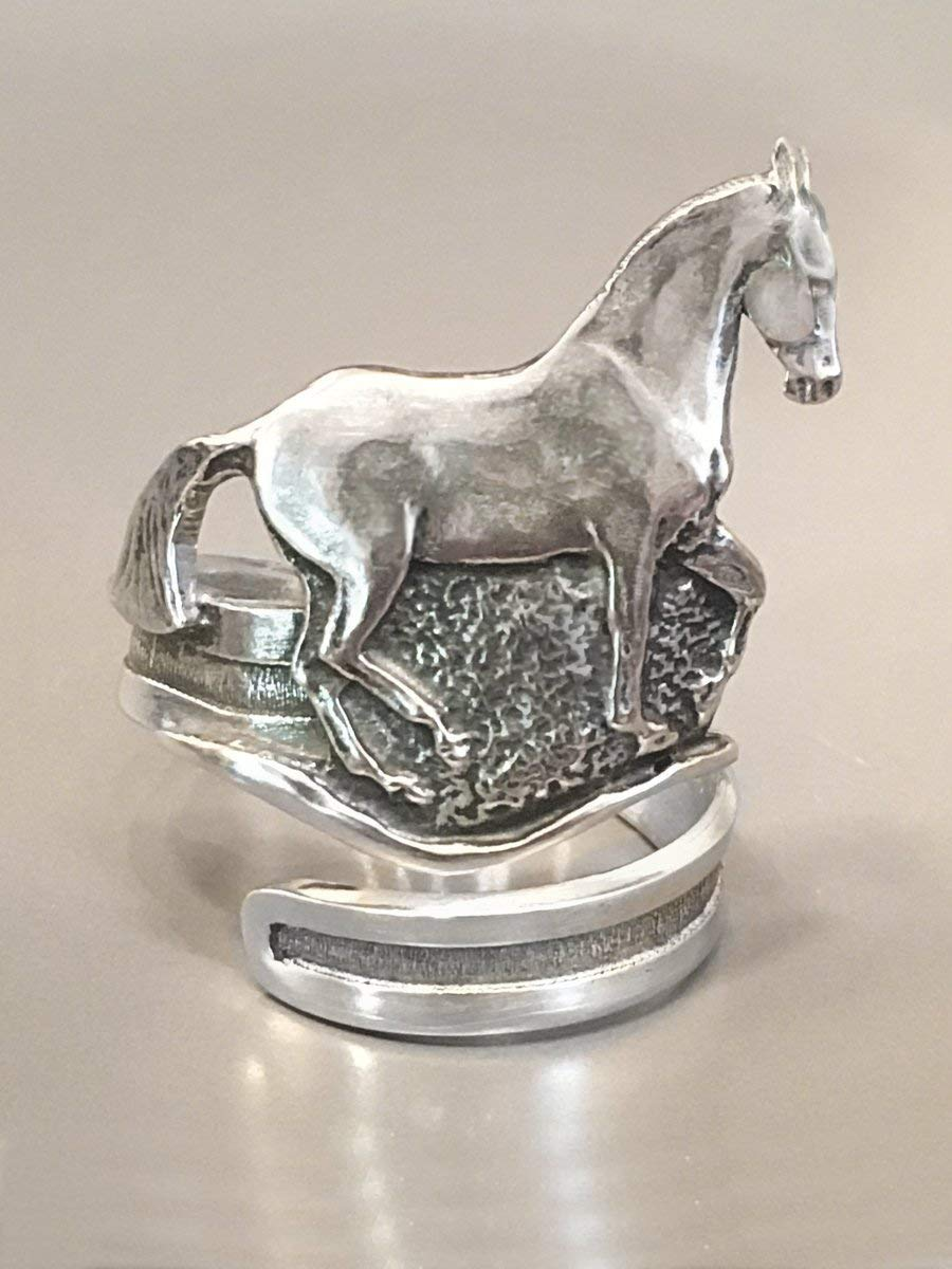 Horse Lady Gifts Dressage Horse Napkin Rings, Piaffe', set of 4 pewter Piaffe'