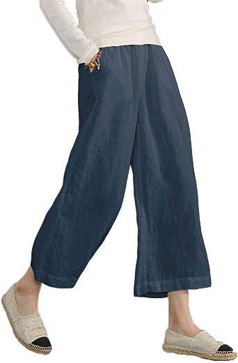 Pantalon Lin Femme Taille Élastique Uni Manche
