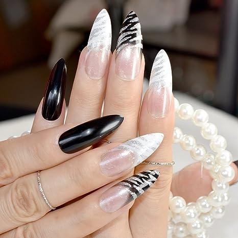 Clásico diseño de cebra, color negro y blanco, uñas postizas, extra largas,