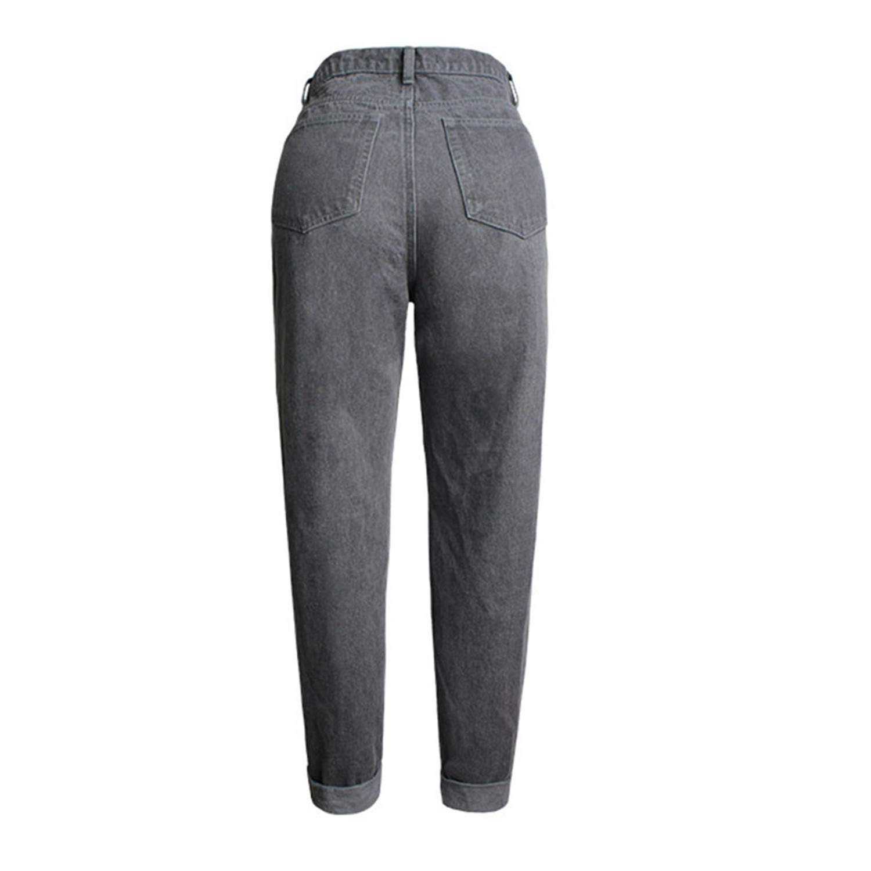 Missrooney Autumn Boyfriend Women Jeans Flower Embroidered High Waist Hole Loose Full Length Straight Pants Streetwear Female